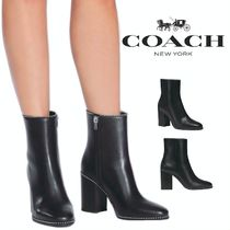 Coach Round Toe Rubber Sole Casual Style Plain Leather Block Heels