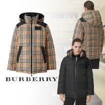 Burberry Short Other Check Patterns Street Style Down Jackets