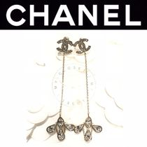 CHANEL ICON Costume Jewelry Blended Fabrics Clover Flower Street Style