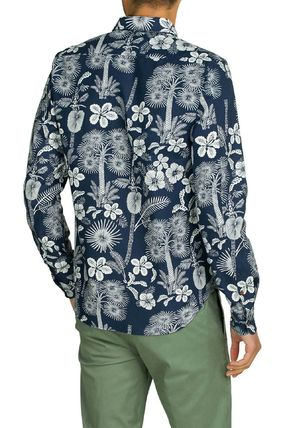 Scotch & Soda Button-down Flower Patterns Street Style Long Sleeves Cotton