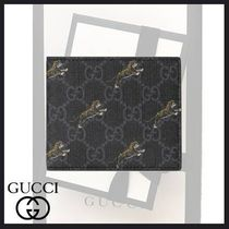 GUCCI Canvas Other Animal Patterns Folding Wallets