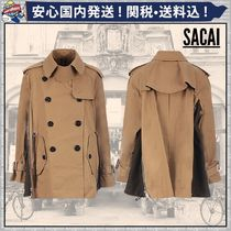 sacai Short Plain Trench Coats