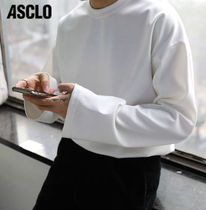 ASCLO Long Sleeves Plain Cotton Oversized Long Sleeve T-shirt Logo