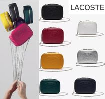 LACOSTE Casual Style Chain Leather Elegant Style Shoulder Bags