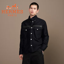 HERMES Button-down Cashmere Long Sleeves Plain Oversized Shirts