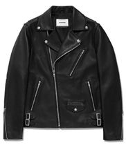 vivastudio Short Street Style Plain Leather Biker Jackets