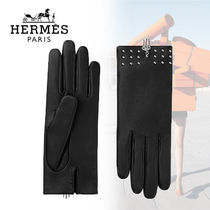 HERMES Studded Plain Leather Leather & Faux Leather Gloves