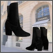 CHANEL 2019-20AW SHORT BOOTS black boots high heel