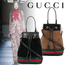 GUCCI Casual Style Suede 2WAY Plain Leather Purses Elegant Style