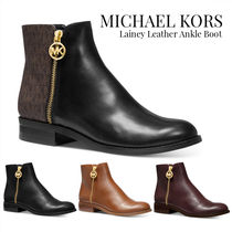 Michael Kors Round Toe Rubber Sole Casual Style Plain Leather Logo