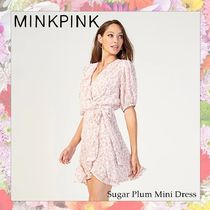 MINKPINK Wrap Dresses Short Flower Patterns Casual Style Flared