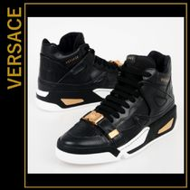 VERSACE Blended Fabrics Street Style Plain Leather Sneakers