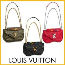 Louis Vuitton Calfskin Plain Elegant Style Shoulder Bags