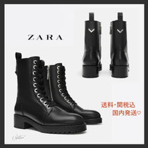 ZARA Plain Toe Round Toe Rubber Sole Lace-up Casual Style Studded