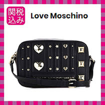 Love Moschino Heart Faux Fur Studded Shoulder Bags