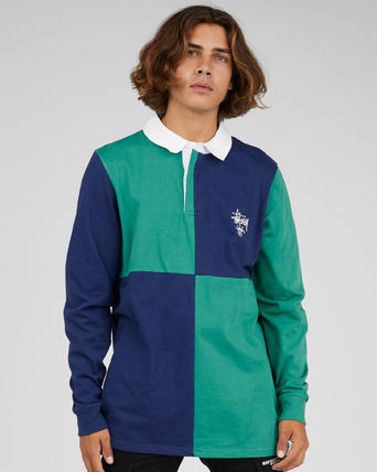 STUSSY Polos Pullovers Stripes Street Style Long Sleeves Cotton Polos 2