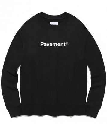 Unisex Street Style Long Sleeves Cotton Logo Sweatshirts