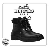 HERMES Plain Toe Plain Leather Engineer Boots