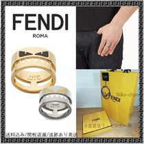 FENDI BAG BUGS Unisex Street Style Bi-color Plain Metal Rings