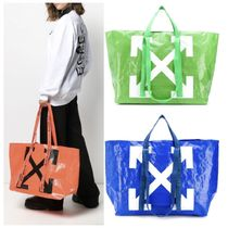 Off-White Unisex Street Style Totes