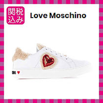 Love Moschino Heart Rubber Sole Casual Style Leather Low-Top Sneakers