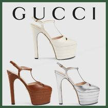 GUCCI Platform Round Toe Plain Leather Party Style