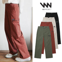 WV PROJECT Casual Style Street Style Plain Long Khaki Dark Brown Pants