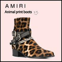 AMIRI Leopard Patterns Street Style Leather Boots
