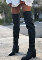 Tony Bianco Suede Plain Leather Block Heels Over-the-Knee Boots