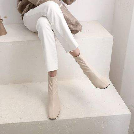 Square Toe Faux Fur Plain Chunky Heels Ankle & Booties Boots