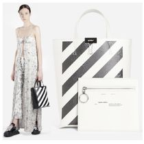 Off-White Unisex Street Style 2WAY Leather Totes