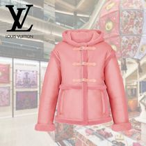 Louis Vuitton Short Casual Style Plain Leather Elegant Style Duffle Coats