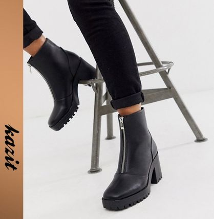 ASOS Ankle & Booties Casual Style Faux Fur Block Heels Ankle & Booties Boots