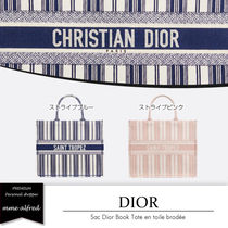 Christian Dior Stripes Casual Style Canvas A4 Totes