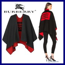 Burberry Unisex Wool Street Style Plain Oversized Ponchos & Capes