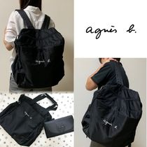 Agnes b Unisex Nylon A4 2WAY Plain Logo Backpacks
