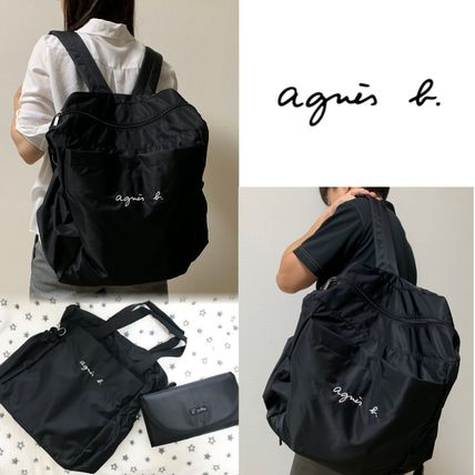Unisex Nylon A4 2WAY Plain Logo Backpacks