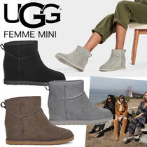 UGG Australia Wedge Plain Toe Casual Style Fur Plain Block Heels