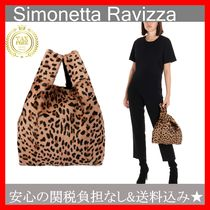 SIMONETTA RAVIZZA Leopard Patterns Casual Style Fur Handbags