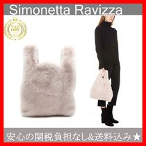 SIMONETTA RAVIZZA Casual Style Fur Plain Handbags