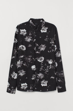 Flower Patterns Long Sleeves Shirts