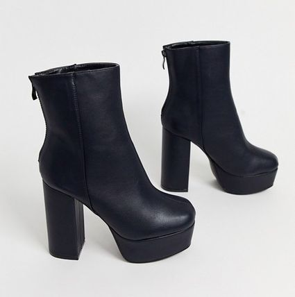 Casual Style Faux Fur Block Heels Ankle & Booties Boots