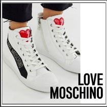 Love Moschino Heart Rubber Sole Lace-up Casual Style Low-Top Sneakers