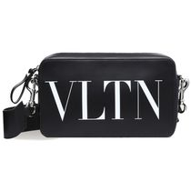 VALENTINO VLTN Unisex Calfskin Plain Leather Crossbody Bag Logo Belt Bags