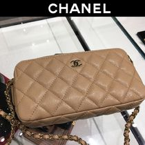CHANEL 2WAY Chain Plain Leather Shoulder Bags