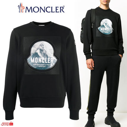 MONCLER Sweatshirts Long Sleeves Cotton Logo Sweatshirts