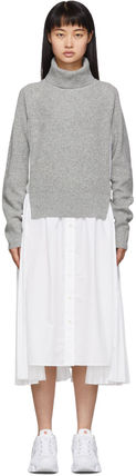 Casual Style Wool Blended Fabrics Flared Long Sleeves Plain