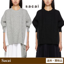 sacai Cable Knit Casual Style Wool Blended Fabrics Cotton Medium