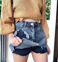 Casual Style Denim Plain Denim & Cotton Shorts