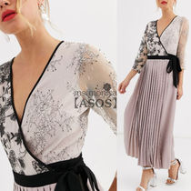 ASOS Wrap Dresses V-Neck Long Sleeves Long Party Style Lace